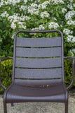 有水滴的一把棕色扶手椅子在绿色灌木附近 免版税库存照片