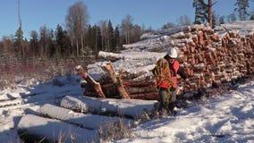 有绳索的伐木工人横跨积雪的倾斜 股票视频