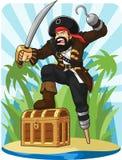 有他的宝物箱的海盗 免版税库存图片