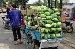 彭州,中国: 有货车的农夫圆白菜 免版税库存图片