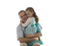 有他的父亲的女孩 免版税图库摄影