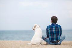有他的狗的人在坐回到照相机的夏天海滩 库存照片