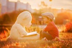 有他的玩具熊朋友的可爱的小男孩在su的公园 库存图片