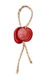 有绳索的红色蜡封印 免版税库存图片