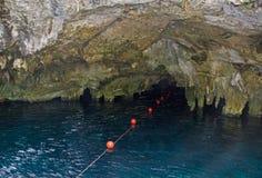 有洞的美丽如画的自然地下湖在墨西哥 免版税图库摄影