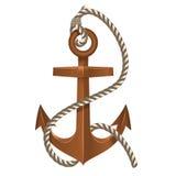 有绳索的老船锚 免版税库存图片