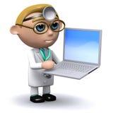 有他的膝上型计算机的3d医生 免版税库存图片