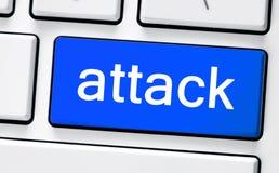 有攻击的计算机白色键盘 图库摄影