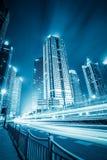 有轻的足迹的未来派城市 库存照片