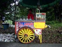 有他的食物推车的一个冰淇凌供营商在边路等待的顾客 图库摄影