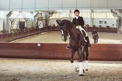 有他的马的妇女骑师 免版税库存照片