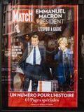 有他的妻子的巴黎比赛的p布丽吉特Trogneux伊曼纽尔Macron 图库摄影
