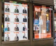 有他的妻子的巴黎比赛的p布丽吉特Trogneux伊曼纽尔Macron 免版税库存照片