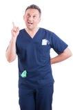 有年轻的医生一个新的好主意 免版税图库摄影