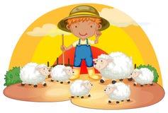 有他的绵羊的一个年轻男孩 免版税库存图片