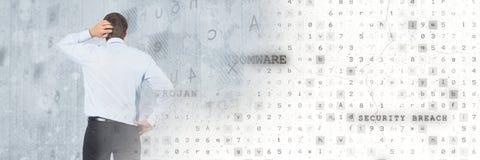 有代码病毒安全转折的想法的人 图库摄影