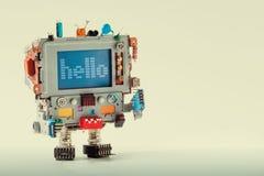 有滑稽的显示器计算机头的,电子零件电容器逗人喜爱的电视机器人 五颜六色的减速火箭的显示字符消息 库存照片