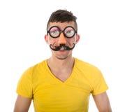 有滑稽的狂欢节面具的人 免版税库存图片