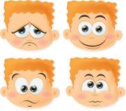 有滑稽的面孔的动画片男孩 库存图片