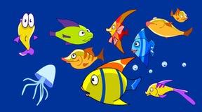 有滑稽的鱼的动画片水族馆 免版税库存照片