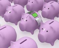 有终端和检查的猪存钱罐 图库摄影