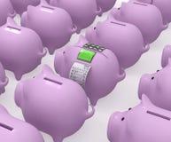 有终端和检查的猪存钱罐 库存图片