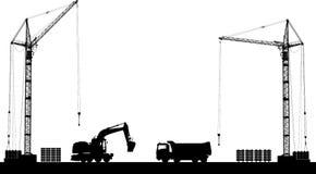 有建筑机器详细的剪影的建筑工地在白色背景的 免版税库存照片