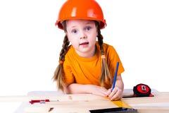 有建筑盔甲的小女孩 免版税库存图片