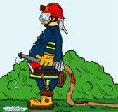有水管的消防队员 库存例证