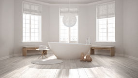 有浴缸的,最低纲领派斯堪的纳维亚人禅宗经典温泉卫生间我 库存例证