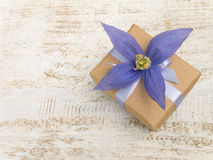 有紫罗兰四瓣花的礼物盒 库存图片