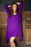 有紫罗兰色礼服的美丽的少妇 图库摄影