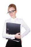 有组织者的愉快的女实业家 免版税库存图片