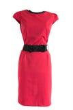 有黑腰带级选手的红色礼服在时装模特 免版税库存照片