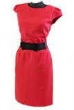有黑腰带级选手的经典红色礼服在时装模特 库存照片