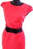 有黑腰带级选手的经典红色礼服在时装模特 图库摄影