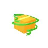 有绿色丝带的纸板箱 概念关心物品 动画片样式传染媒介例证 库存图片