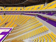 有黄色位子的大现代篮球竞技场 免版税库存照片