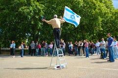 有以色列的旗子的人 免版税库存图片
