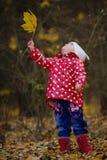 有黄色叶子的小滑稽的女孩 库存照片
