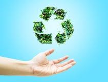 有绿色叶子的开放手回收在浅兰的背景的象 库存图片