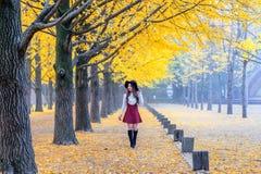 有黄色叶子的美丽的女孩在娜米海岛,韩国 库存图片
