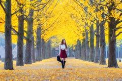 有黄色叶子的美丽的女孩在娜米海岛,韩国 免版税库存图片