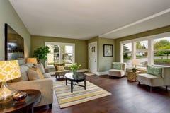 有绿色和黄色题材的可爱的客厅 免版税库存图片