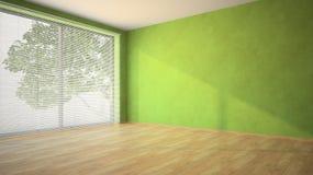 有绿色墙壁和天窗的空的室 免版税库存图片