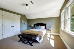 有绿色墙壁和拱顶式顶棚的卧室 免版税库存照片