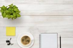 有绿色室内植物、咖啡,开放空白的笔记本和黑铅笔的办公室工作场所 库存照片