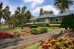 有绿色屋顶的Tan议院 免版税库存照片