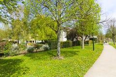有绿色庭院的议院 图库摄影