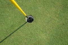 有黄色杆的高尔夫球杯子 免版税库存图片